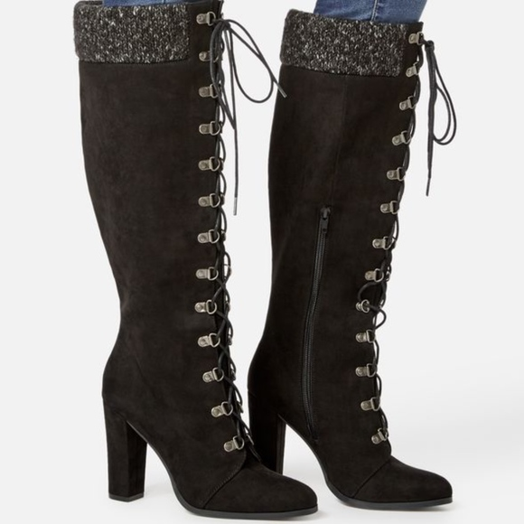 58a10d2fc421 Sicaria Lace-Up Sweater-Cuff Boot Faux Suede 8M